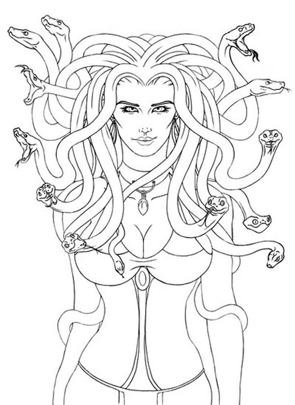 Lovely Picture of Medusa Coloring Page