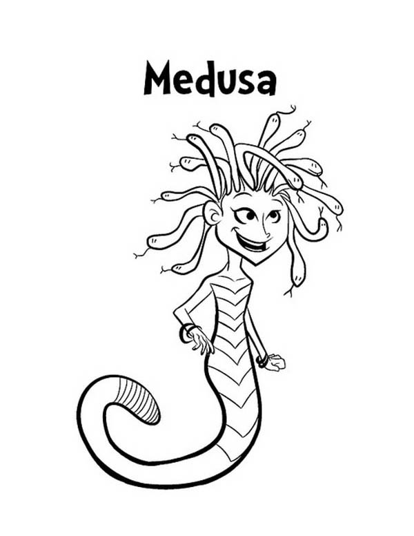 M is for Medusa Coloring Page