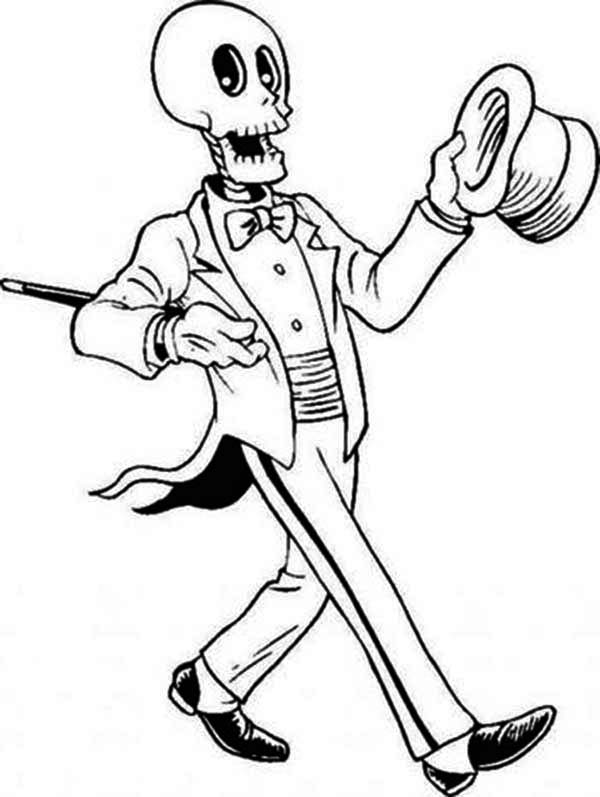 Magician Skeleton On The Show Coloring Page Netart