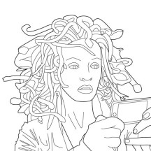 Medusa Looking in the Mirror Coloring Page