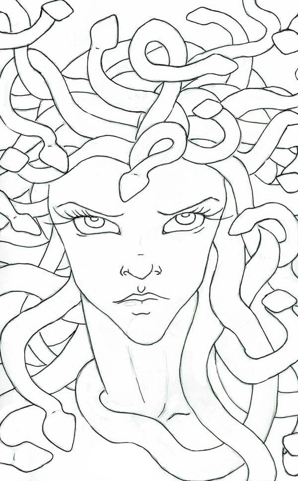 Medusa Staring Eyes Coloring Page