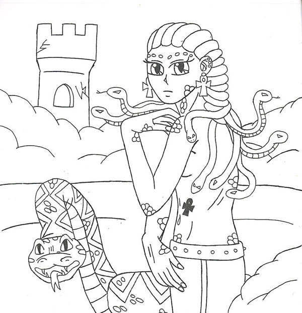 Medusa in the Castle Coloring Page