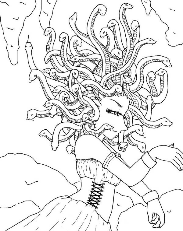 Medusa in the Cave Coloring Page