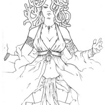 Medusa is a Beautiful Lady Coloring Page