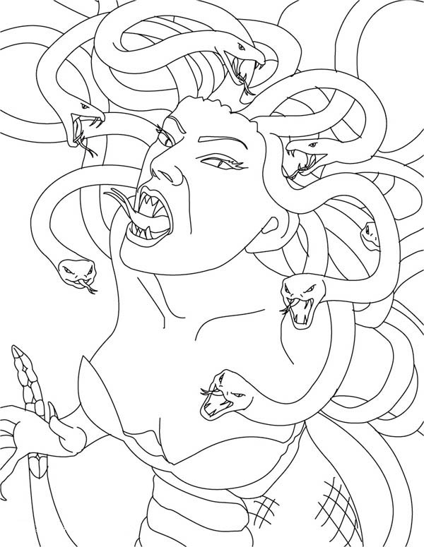 Medusa the Gorgon is Angry Coloring Page