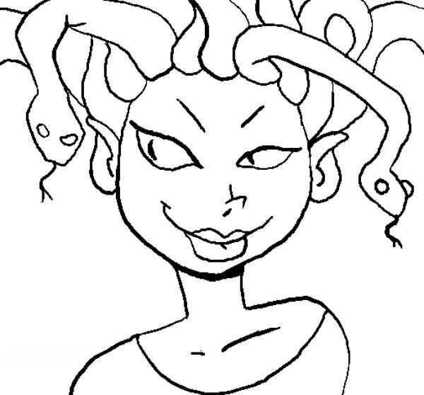 Medusa with Sexy Lips Coloring Page