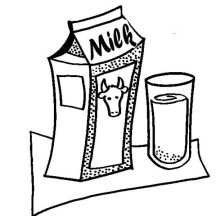 Milk Carton and Glass of Delicious Milk Coloring Page