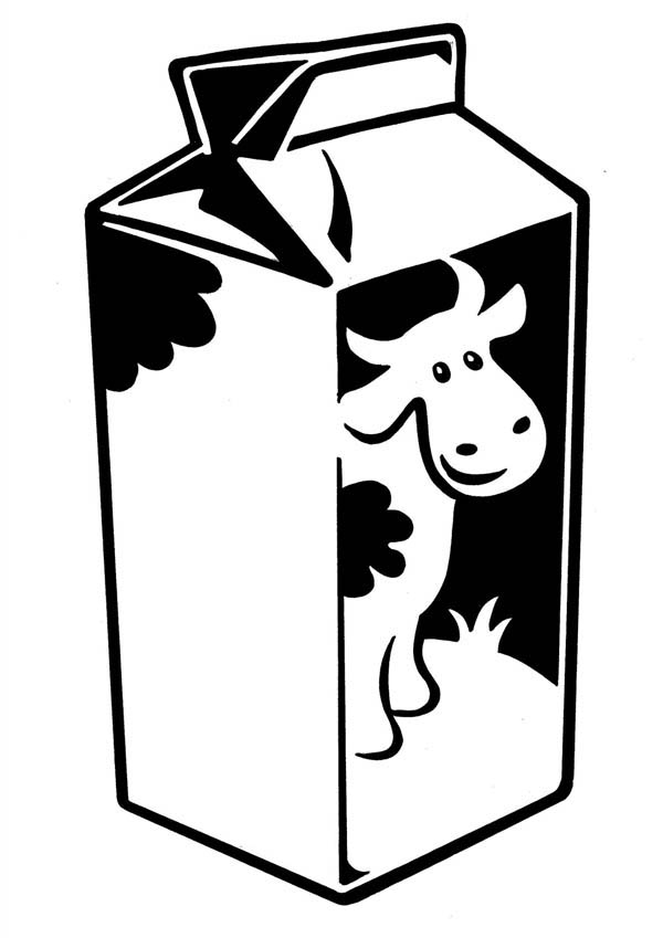 Milk Carton with Cow Picture Coloring Page