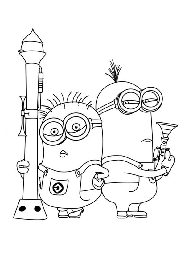 Minions Posing with Heavy Gun in Despicable Me Coloring Page