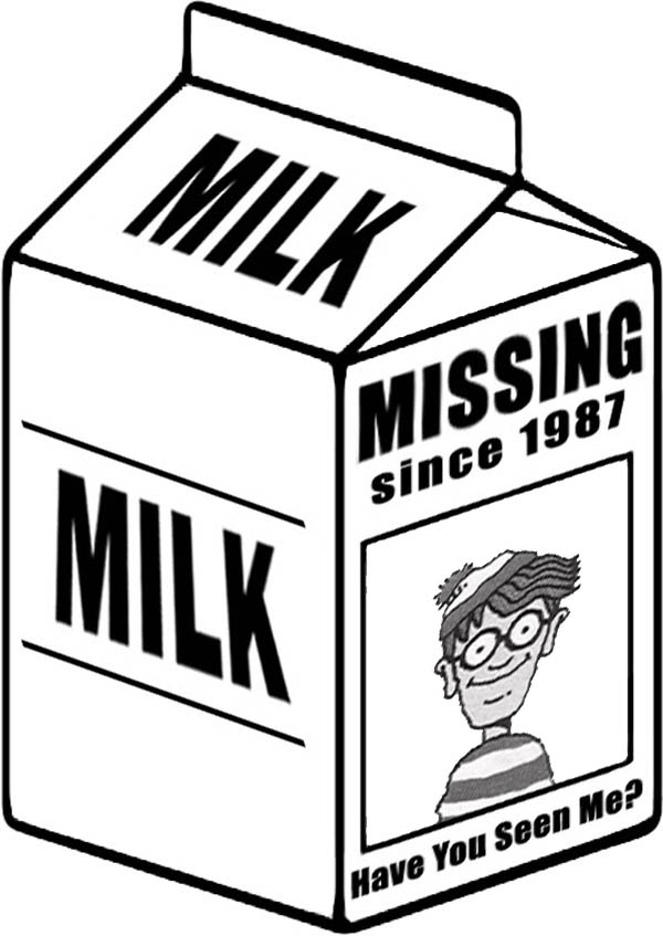 Missing Person Picture on Milk Carton Coloring Page