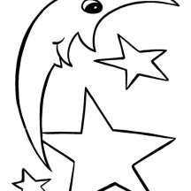 Moon and Star Shapes Coloring Page