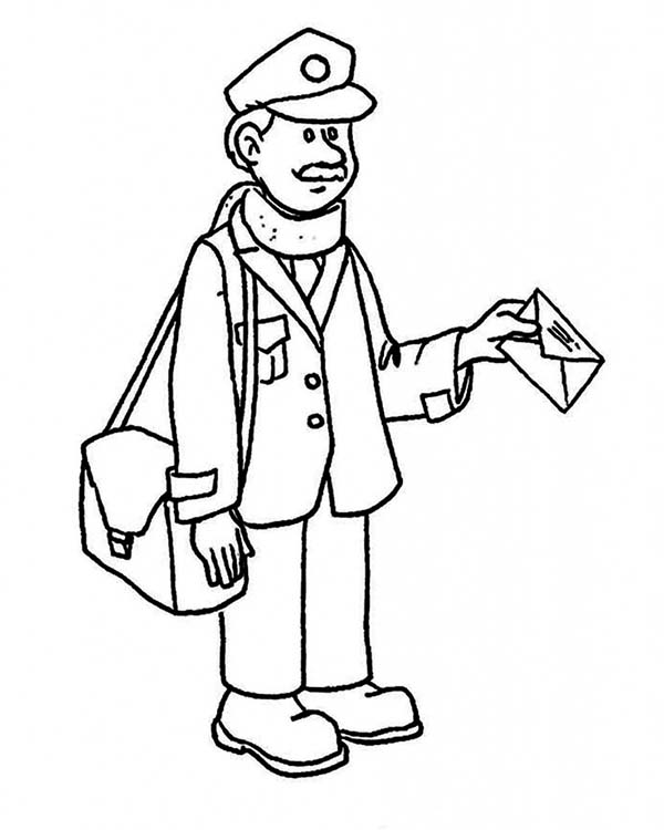 Mr Postman Delivering Mail in Community Helpers Coloring Page