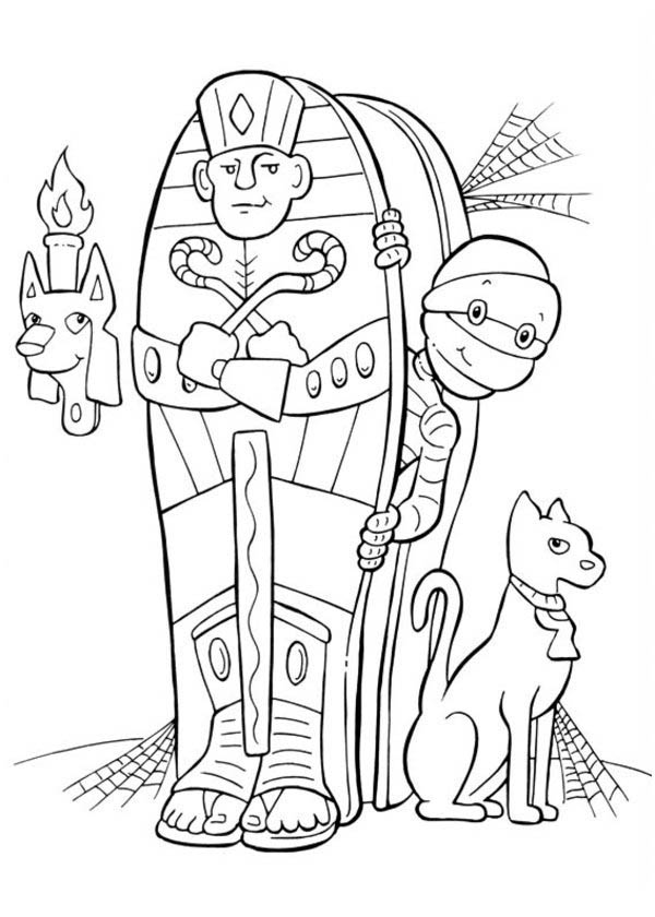 Mummy and Cat in Funschool Halloween Coloring Page