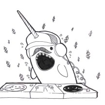Narwhal Disk Jockey Coloring Page