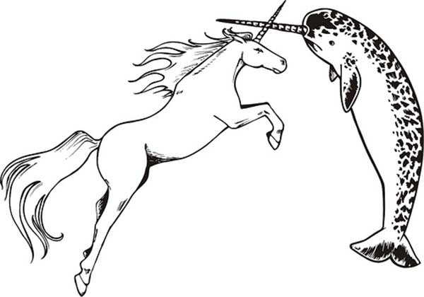 Narwhal vs Unicorn Coloring Page