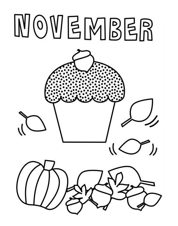 November Cupcake Coloring Page