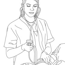 Nurse Checking Blood Pressure Coloring Page