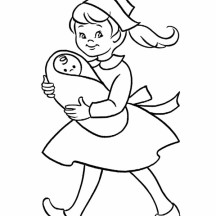 Nurse Girl Taking Care of a Baby Coloring Page