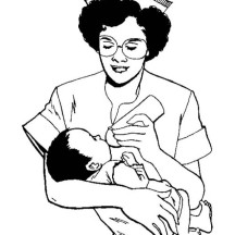 Nurse Give a Baby Some Milk Coloring Page