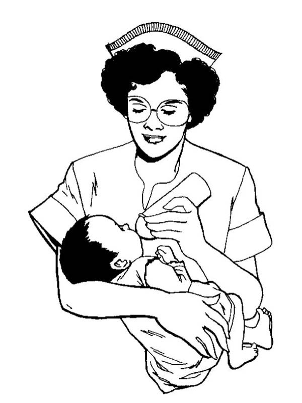 Nurse Give A Baby Some Milk Coloring Page Netart