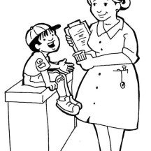 Nurse Talking with Sick Kid in Community Helpers Coloring Page