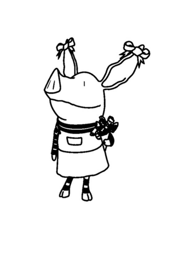 Olivia the Pig Holding Flower Coloring Page