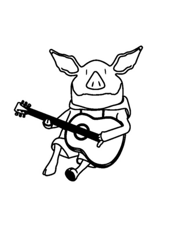 Olivia the Pig Playing Guitar Coloring