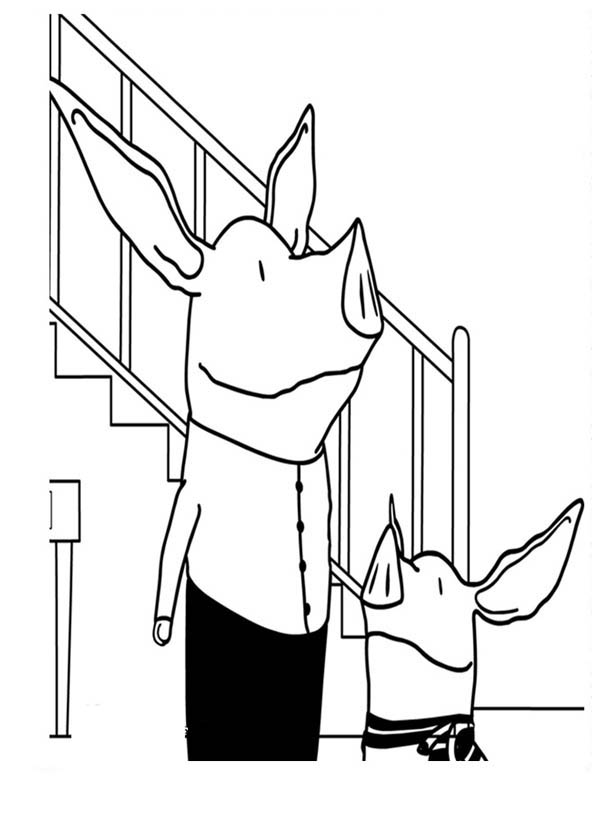 Olivia the Pig Talking to His Fahter Coloring Page