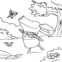 Olivia the Pig Talking to a Butterfly Coloring Page
