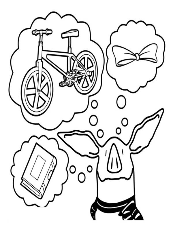 Olivia the Pig Think of Many Things Coloring Page