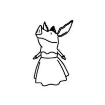 Olivia the Pig Wearing Gown Coloring Page