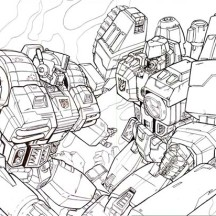 Optimus Prime vs Megatron Coloring Page