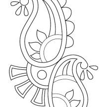 Paisley Design Rangoli Coloring Page