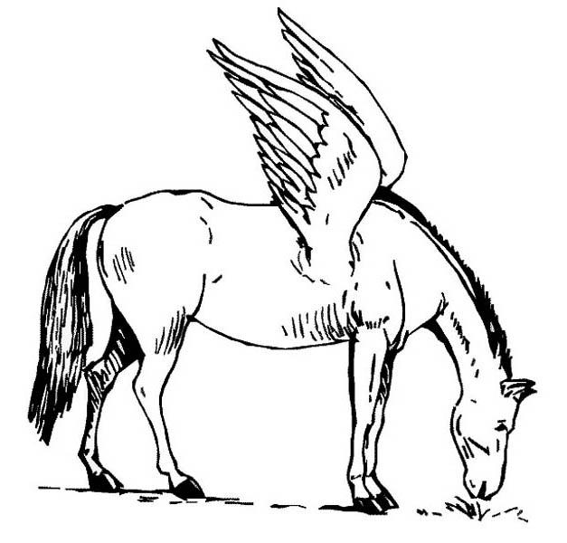 Pegasus Eating Grass Coloring Page