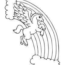 Pegasus Over the Rainbow Coloring Page