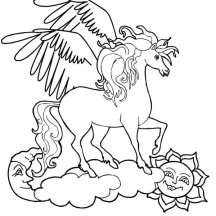 Pegasus Over the Sun and the Moon Coloring Page