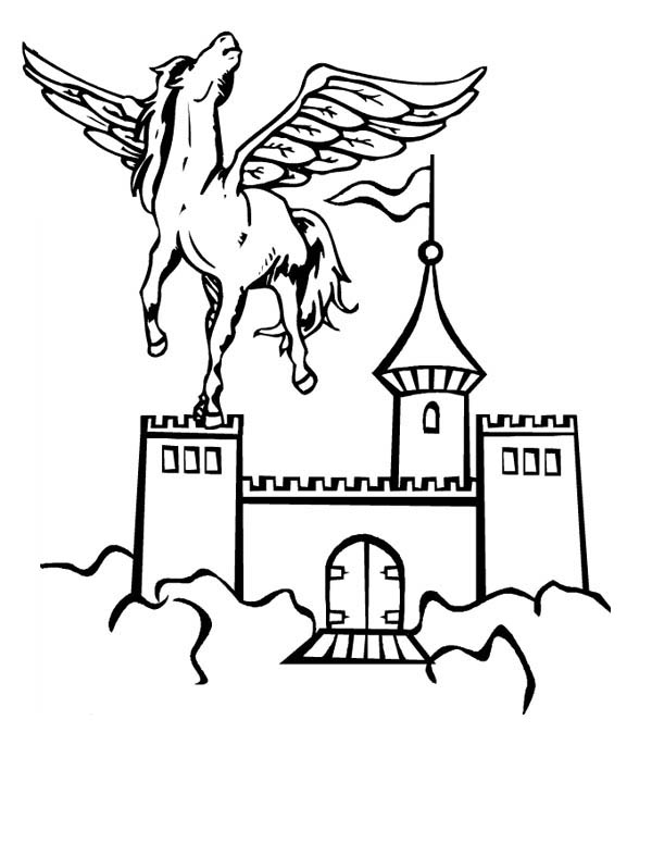 pegasus in front of sky castle coloring page  netart