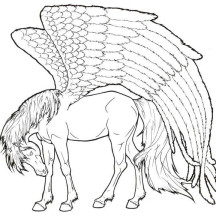 Pegasus is so Tired Coloring Page