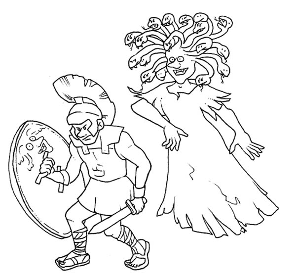 Perseus Avoiding Medusa Eyes Coloring Page