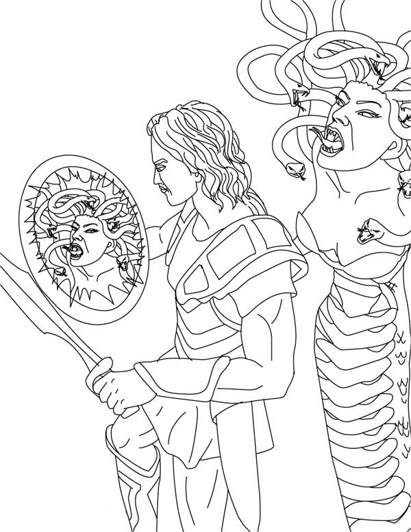 perseus and medusa coloring page