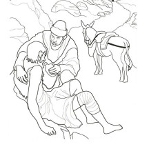 Picture of Good Samaritan Helping Injured Traveller Coloring Page
