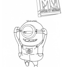 Picture of Jumping Minion in Despicable Me Coloring Page