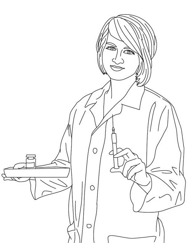 Picture of Nurse Coloring Page