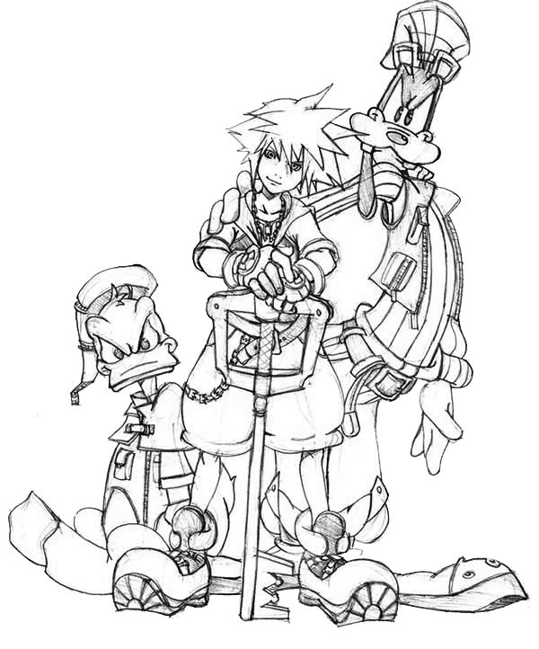 Picture of Sora and Goofy and Donald Duck Coloring Page