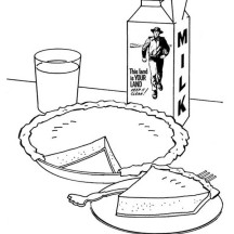 Pictures of Apple Pie and Milk Carton Coloring Page