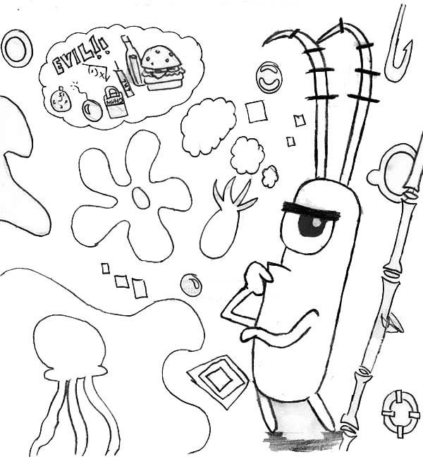 Plankton Plan for Stealing Secret Recipe Coloring Page
