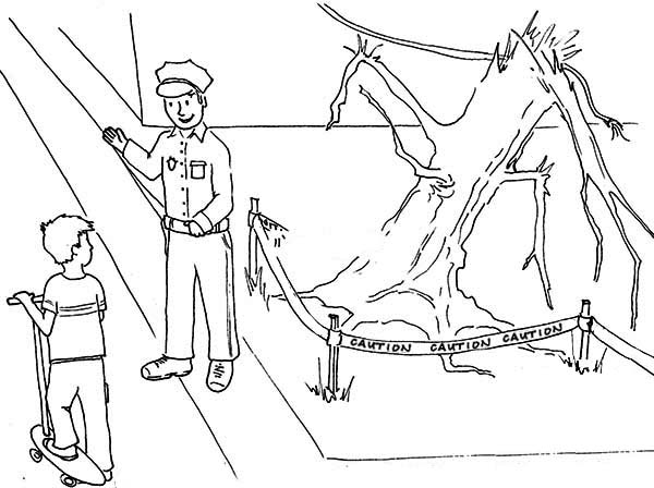 Police Officer Ask Kid to Play Some Else Where Coloring Page