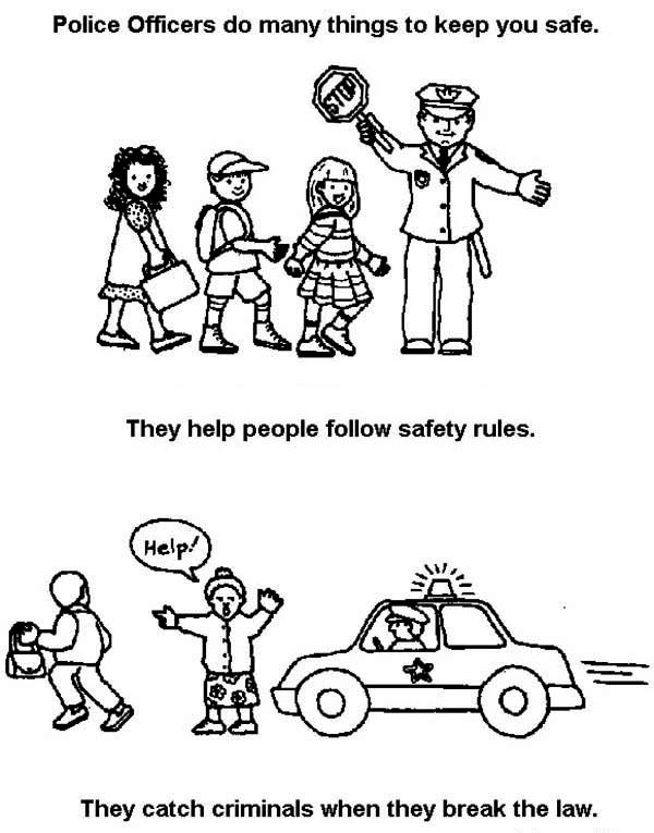 Police Officer Daily Activity Coloring Page