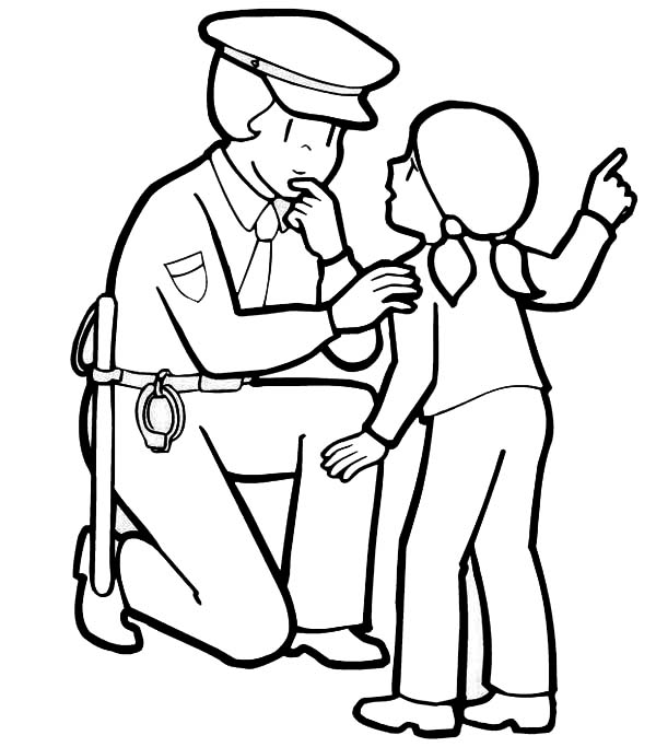 Police Officer Helping a Little Lost Girl Coloring Page