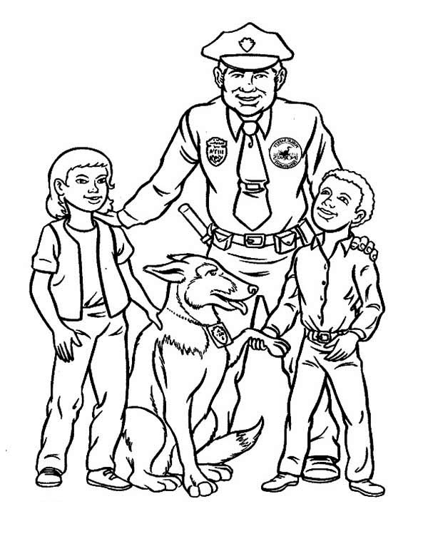 Police Officer Make Friend with Kids Coloring Page